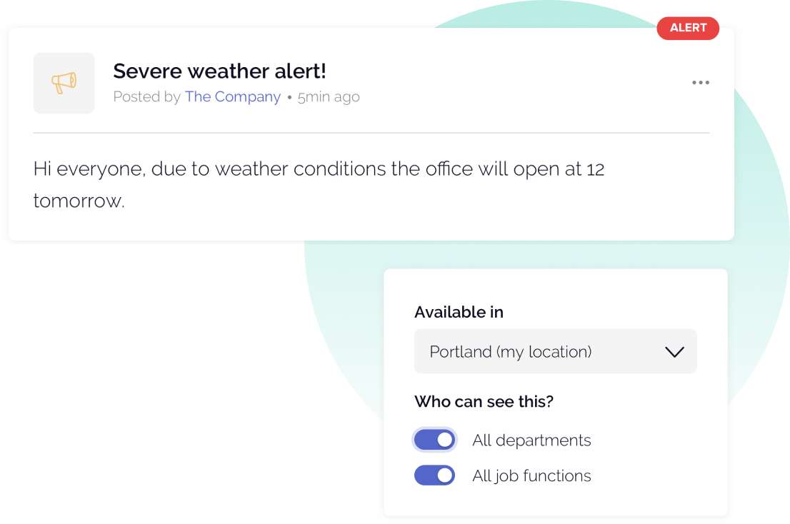 OfficeAccord employee announcement with Severe weather and available in options