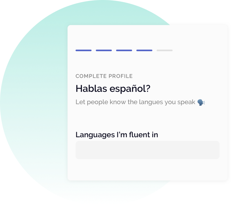 OfficeAccord Profile card asking what languages do you speak