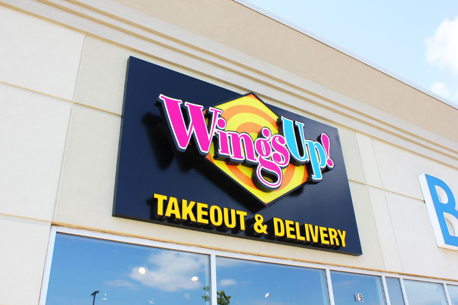 The exterior of a WingsUp! restaurant.