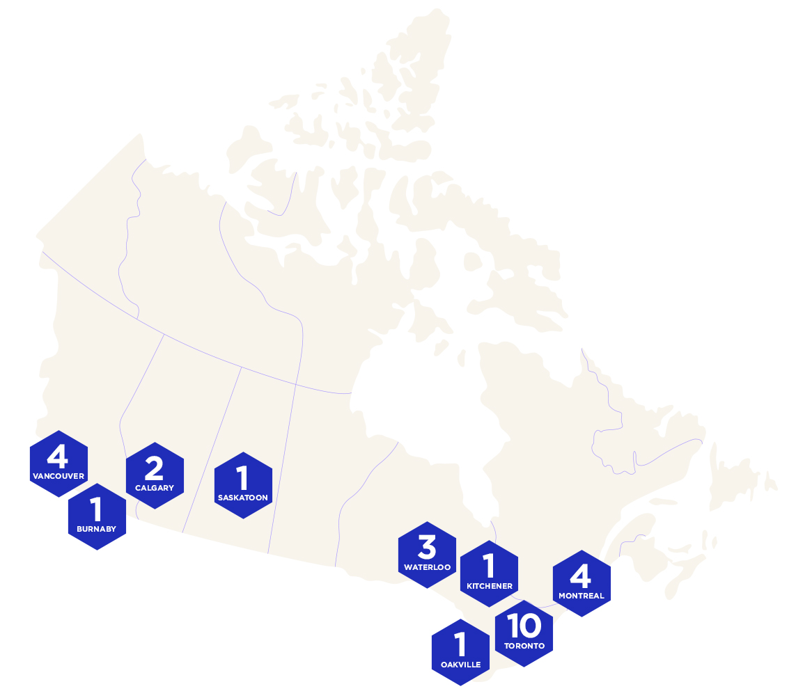 Map of the current companies Startups in Canada.