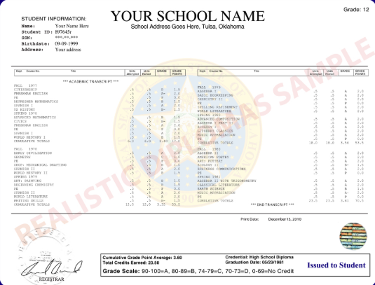 High school Transcript Sample