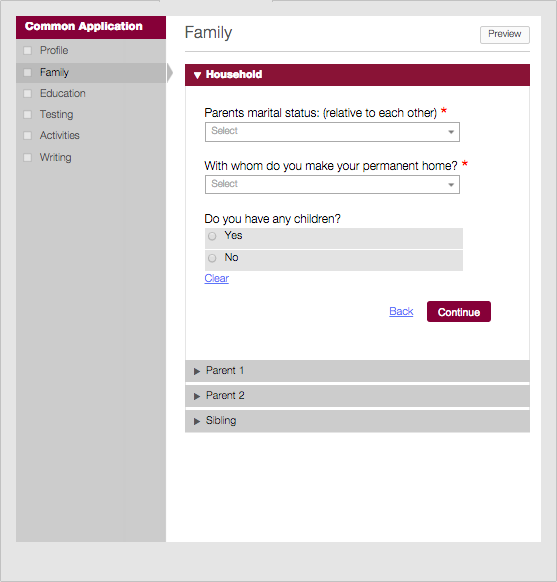 Common Application Family section example
