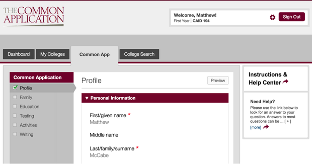 The Common Application profile example