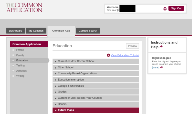 Common Application Education section example
