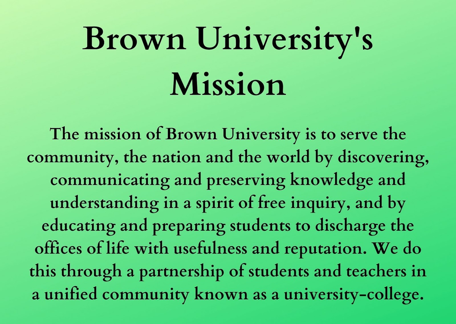 Brown University's Mission