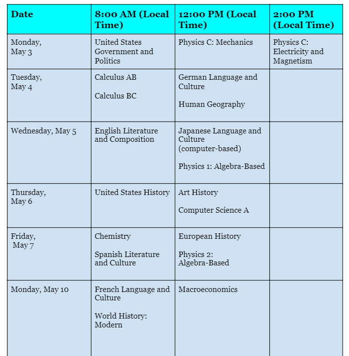 Administration 1 AP Schedule - 1