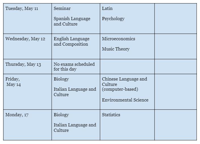 Administration 1 AP Schedule - 2