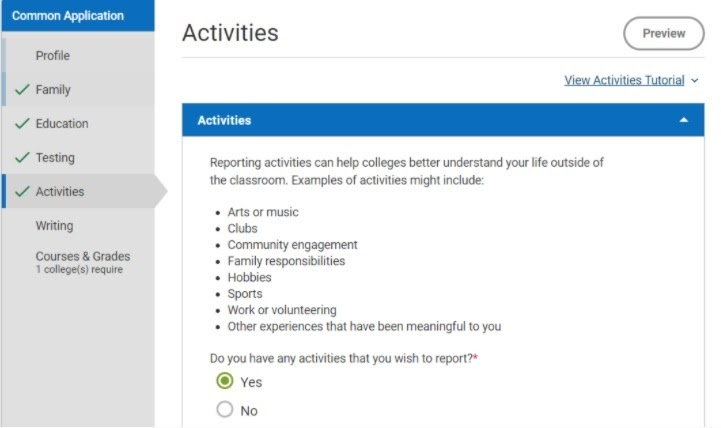 Common App Activities page