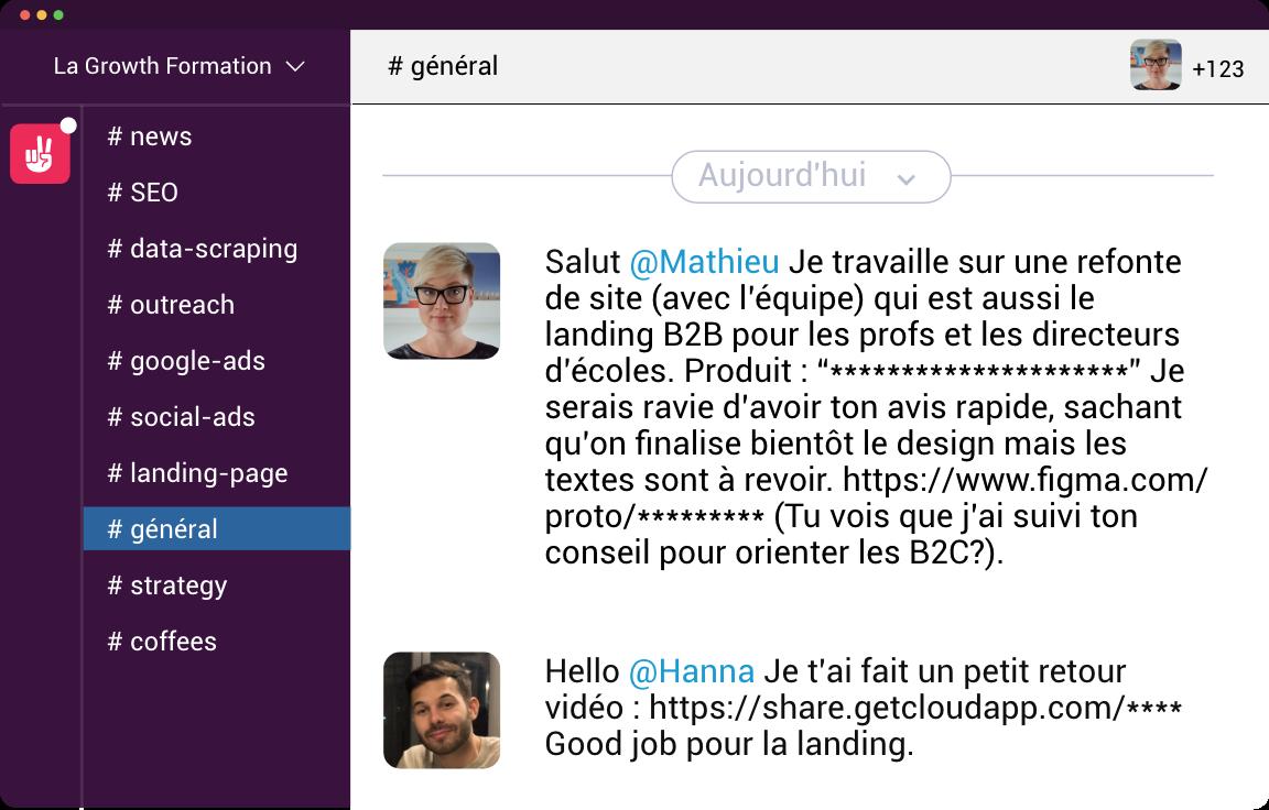 LaGrowthFormation Slack Screenshot feedback