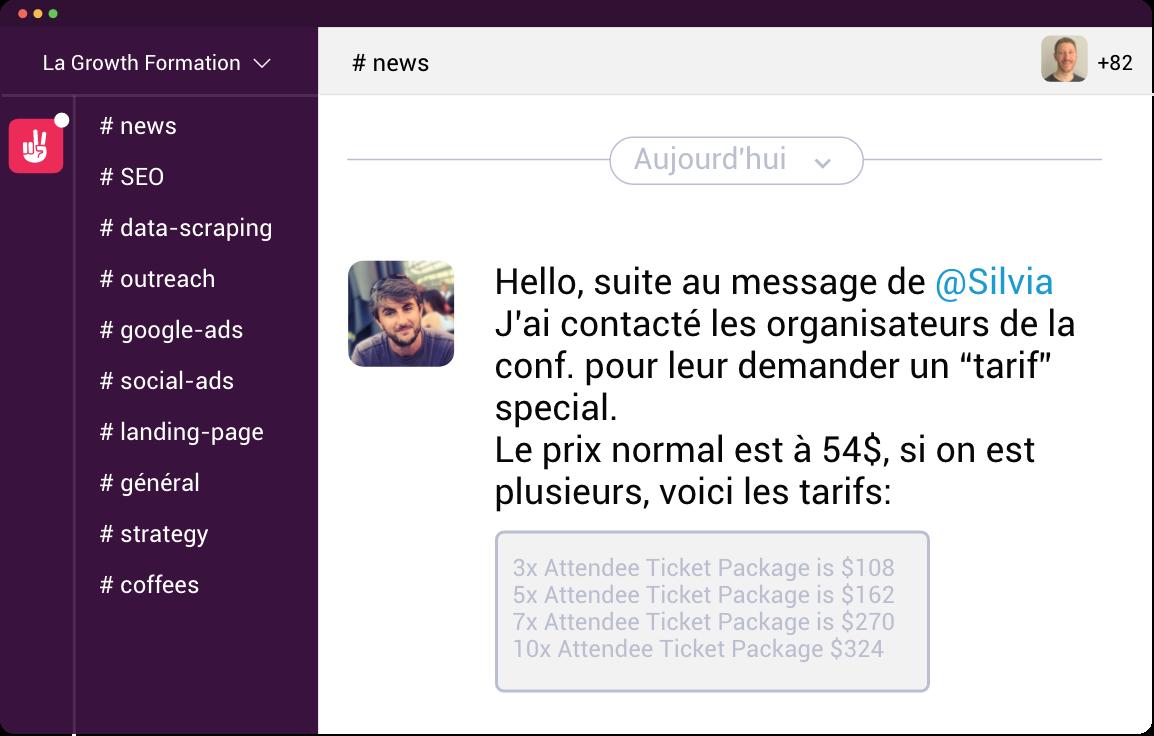LaGrowthFormation Slack Screenshot Perks Group Buy