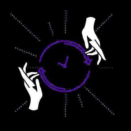 Hands spinning a clock