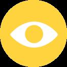 A flat icon of an eye