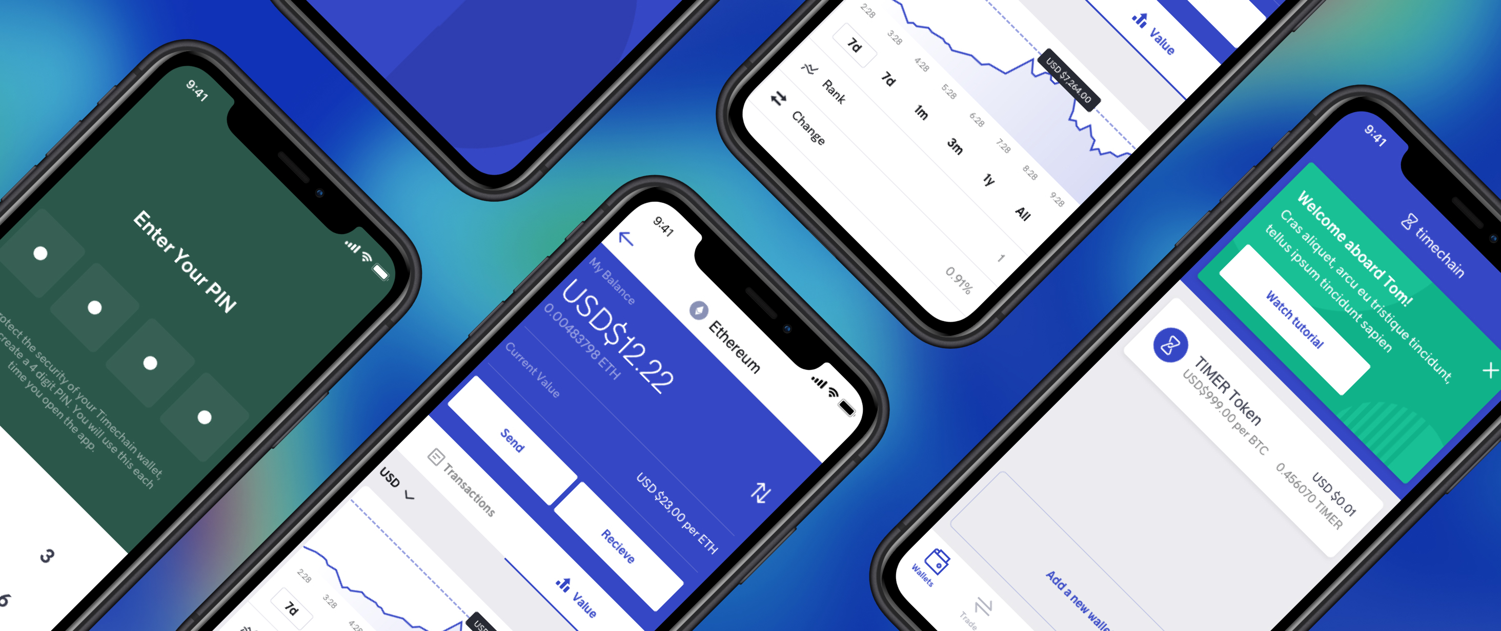 Series of mockups on gradient background