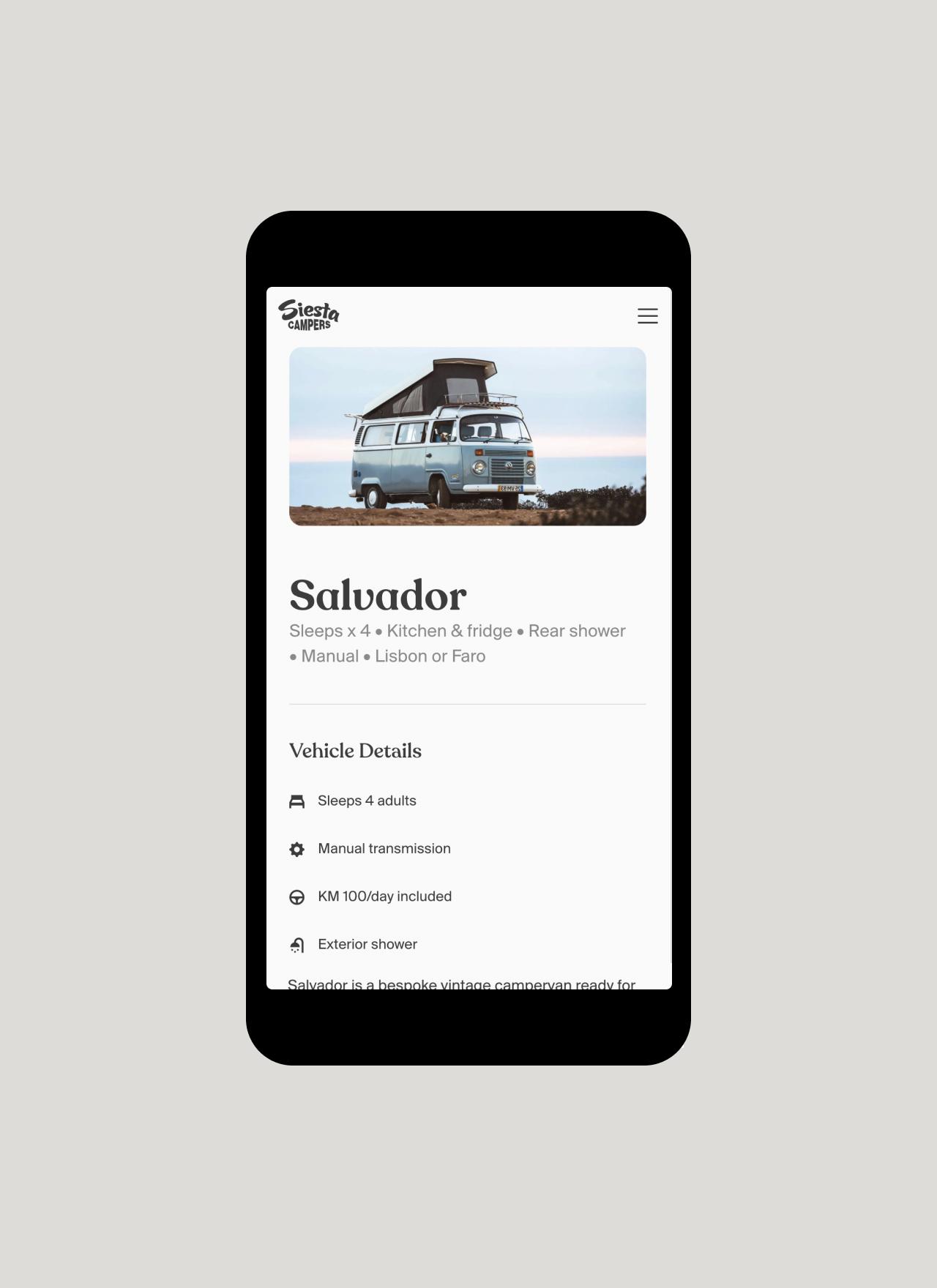 Siesta Campers Website mobile