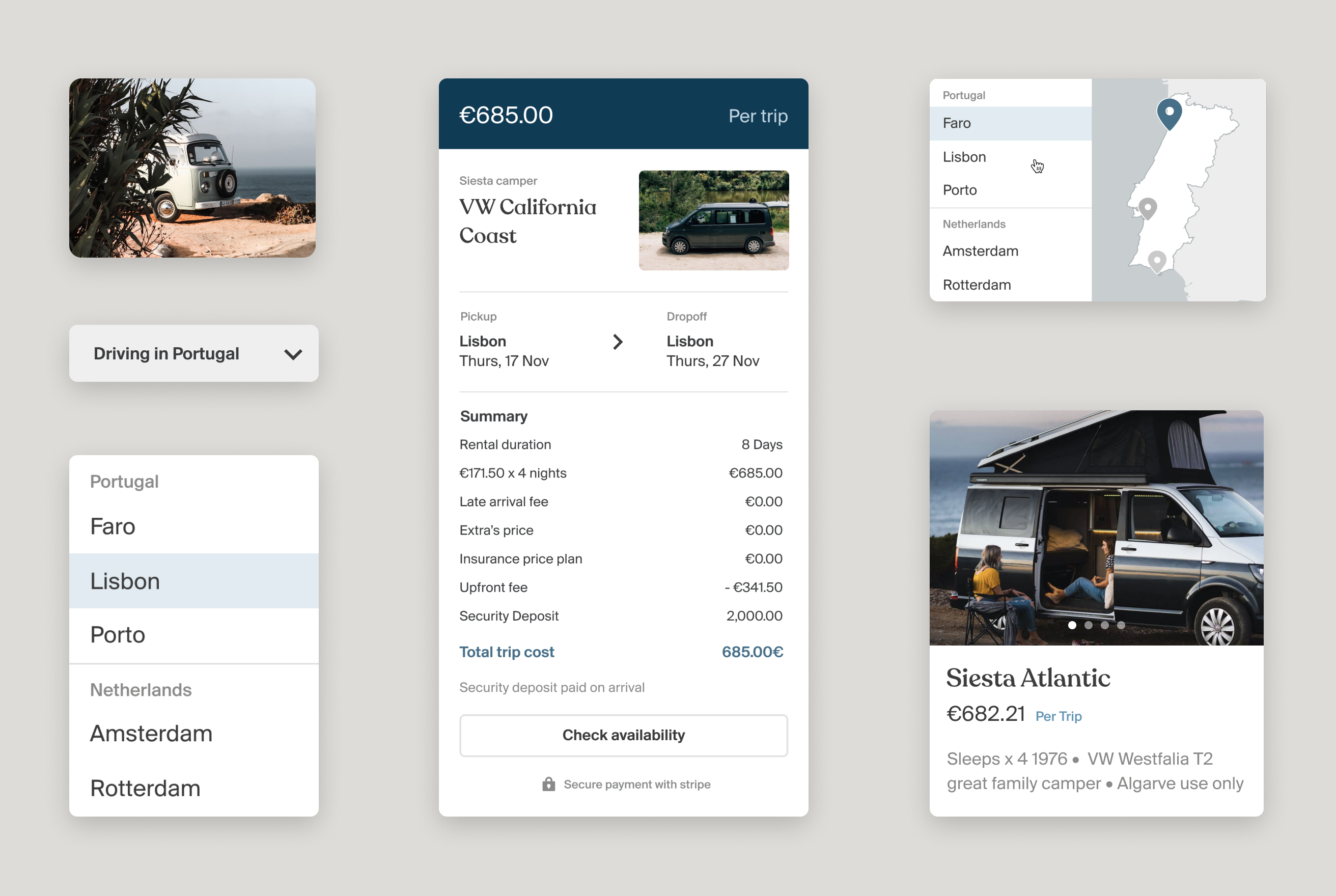 Siesta Campers Website interface components