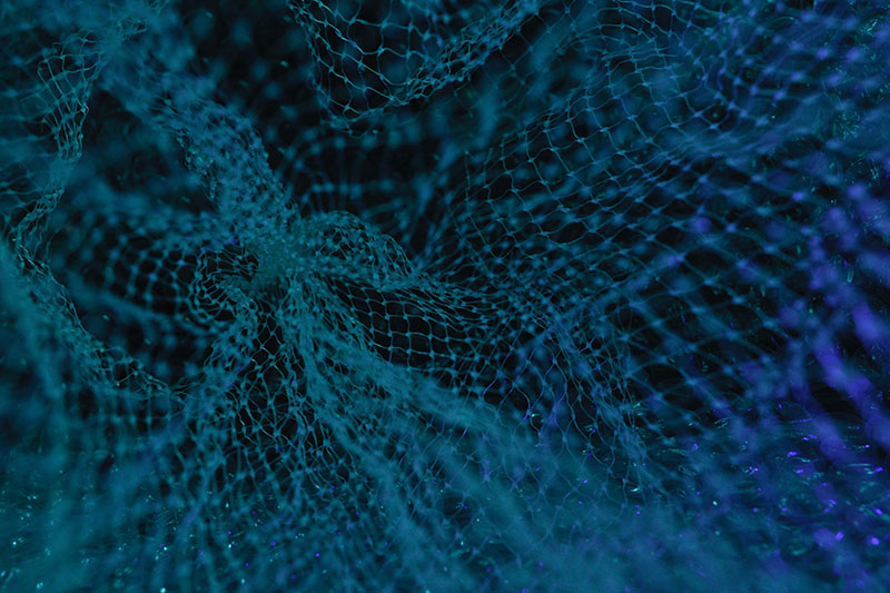 Close up on a blue net in dark waters.