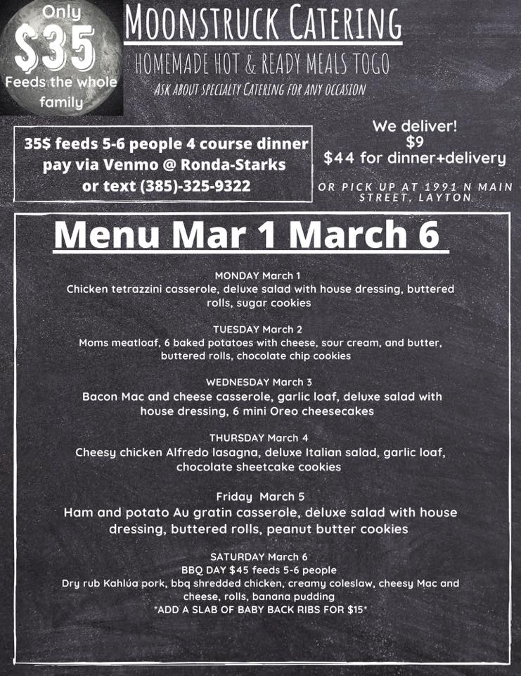 This weeks menu! Order anytime via Venmo Ronda-Starks (PLEASE INCLUDE YOUR NAME, PHONE NUMBER AND ANY DETAILS IN THE COMMENT SECTION IN VENMO). Feeds 4-6 people for only $35 Add delivery for $9 (must be added no later than by 2 PM the day of)