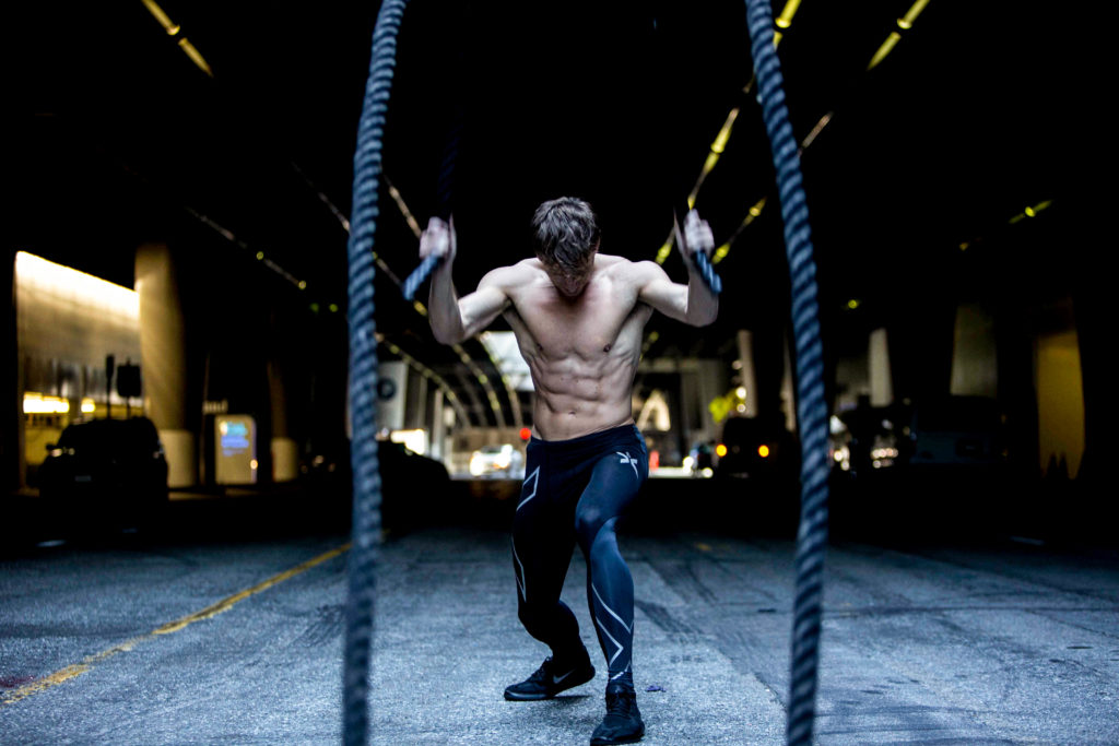 crossfit weightlifting and battle ropes