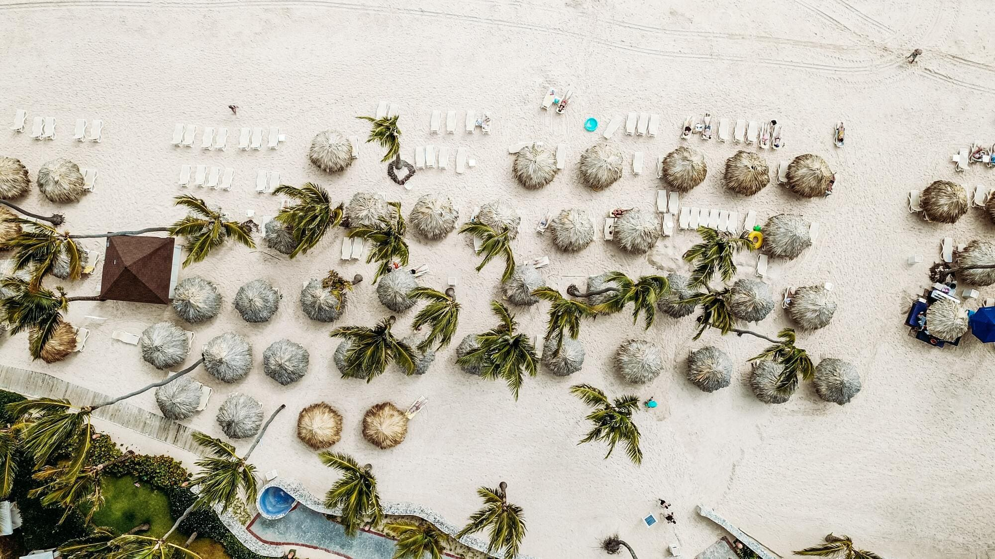 A drone shot from the beach in the Dominican Republic