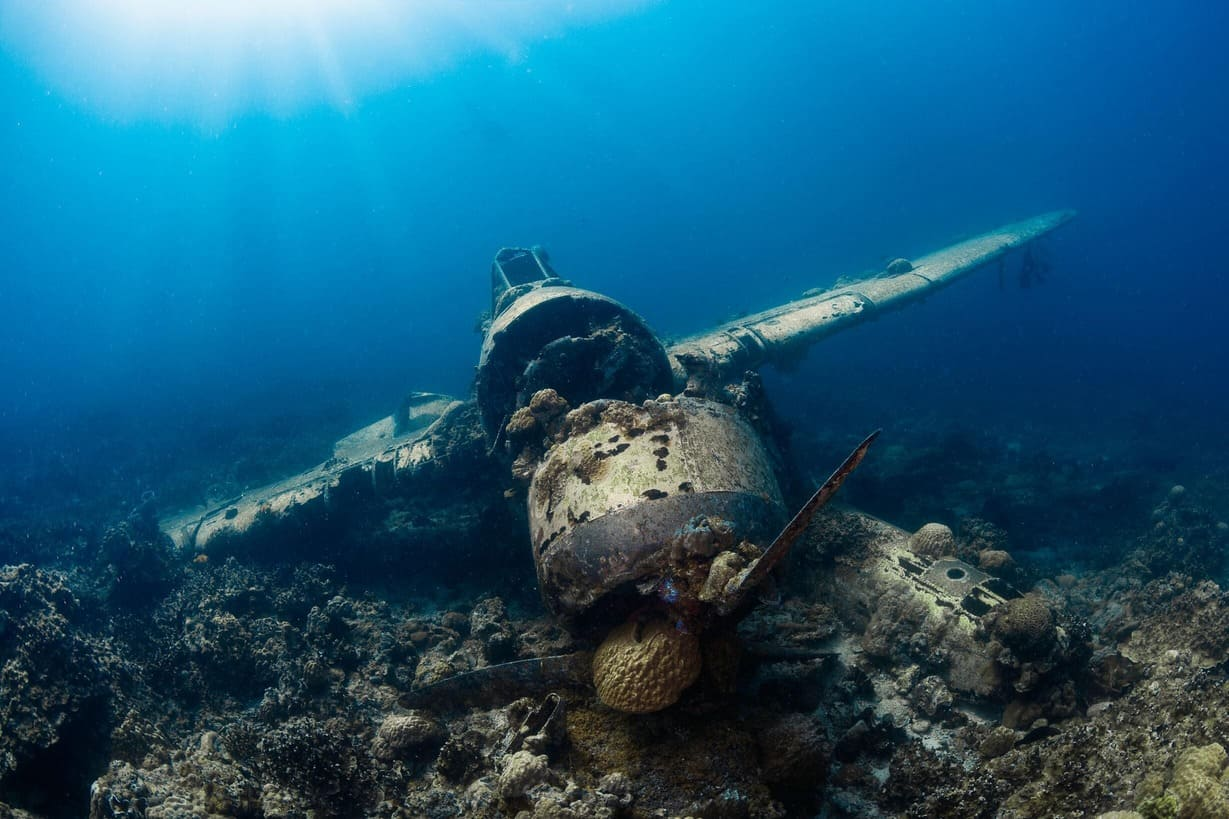 An airplane wreck in the blue waters of Micronesia