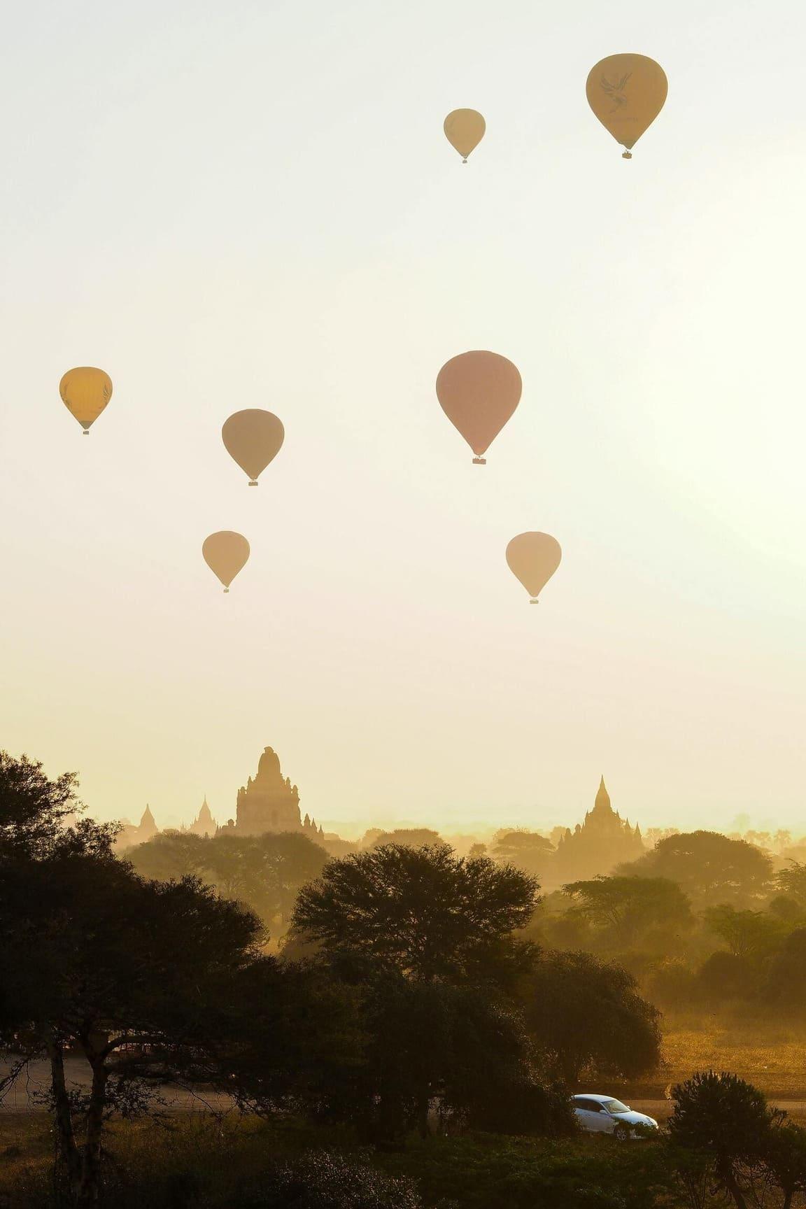 Hundreds of balloons above Myanmar