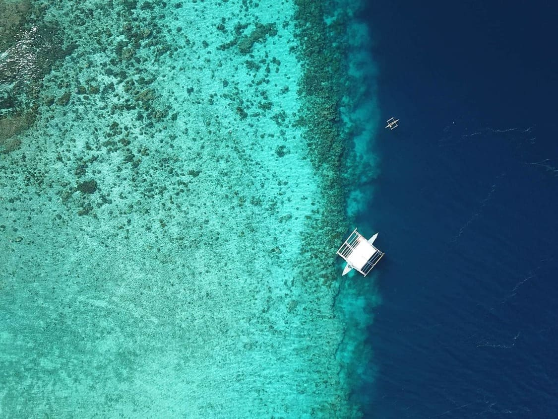 A drone view of the reefs in the south of Cebu Island, Philippines