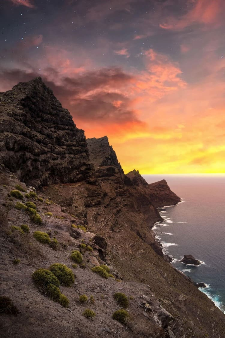 A view of the sunset near one of the islands of Spain
