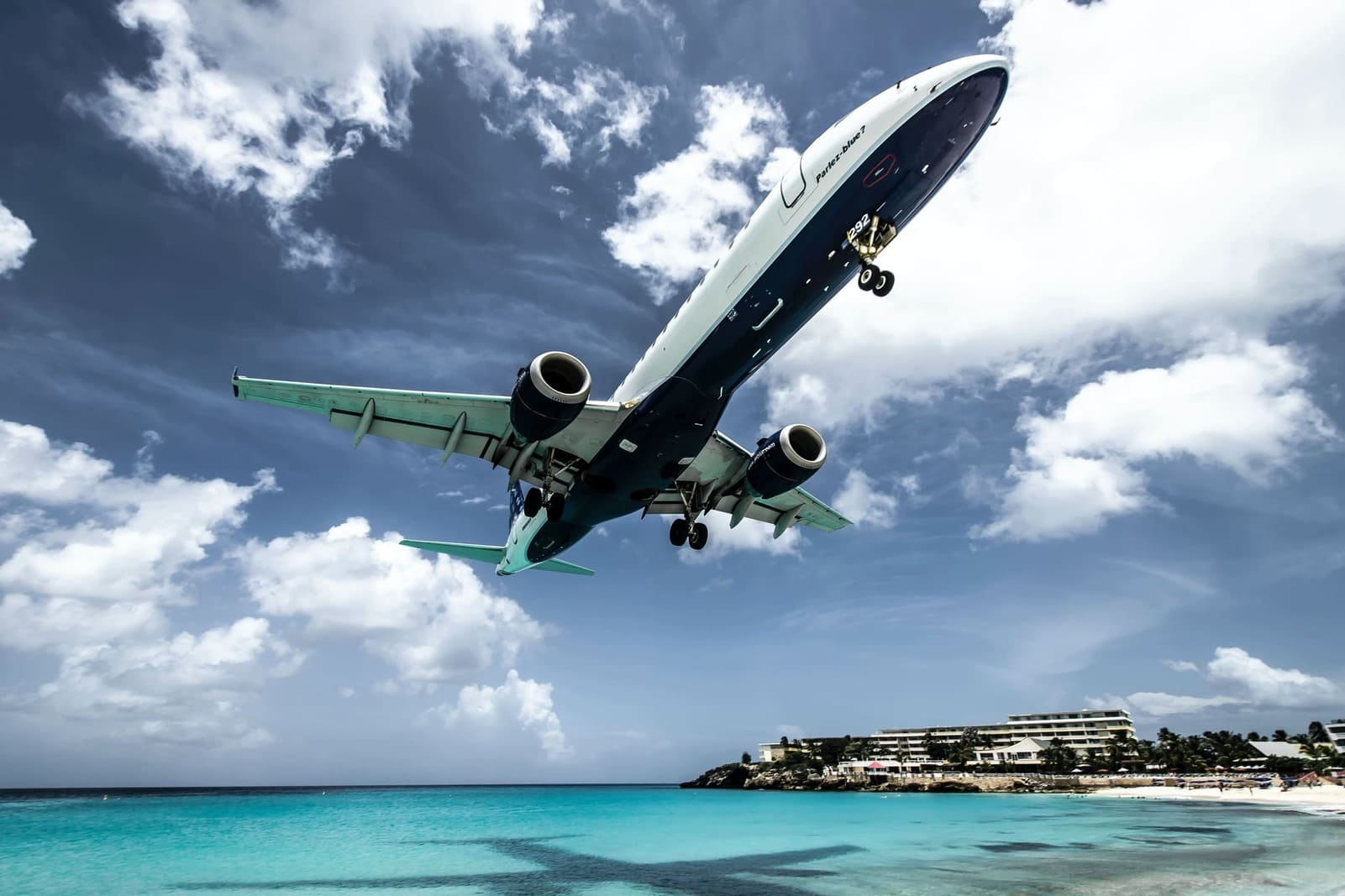 A low fly over of an airplane at St. Maarten