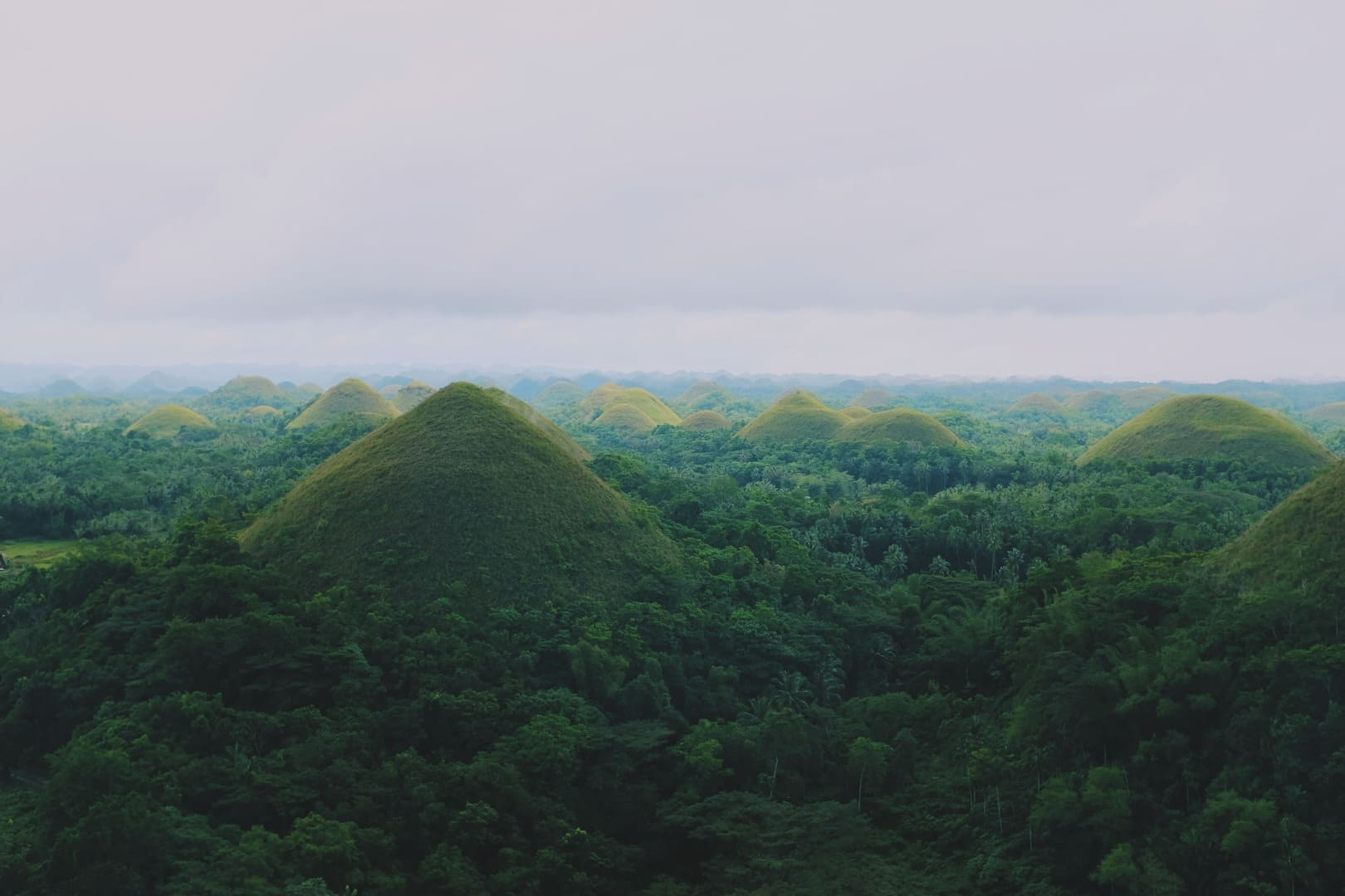 A scenic view of the Chocolate Hills in Bohol, the Philippines