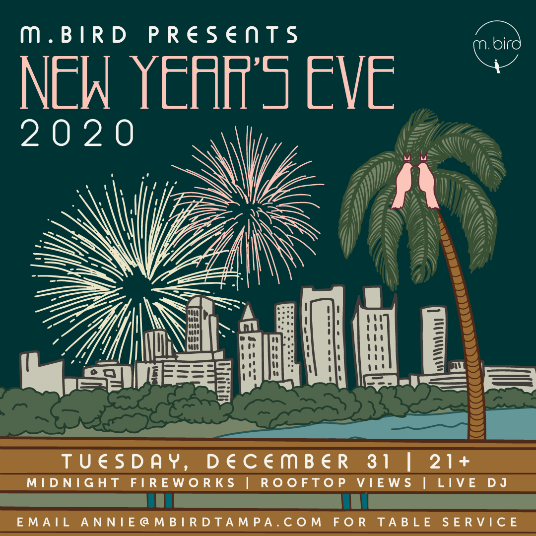Illustration of New Year's Eve from the rooftop at MBird, overlooking the skyline of Tampa with fireworks and two birds kissing in the palm tree