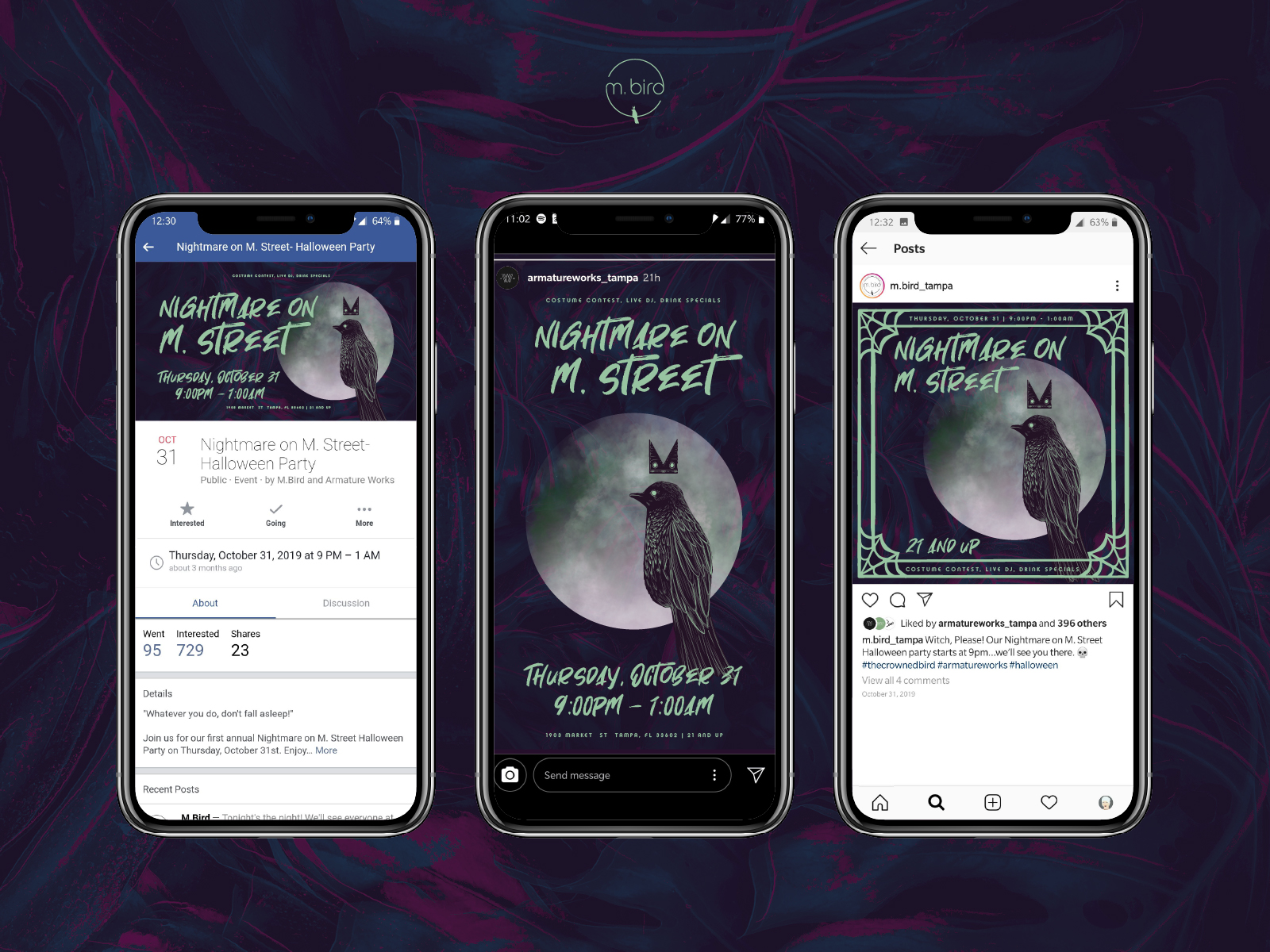 "Graphics for instagram, facebook, and eventbrite advertising ""nightmare on M. Street,"" M.Bird's Halloween party. There is an illustrated moon and bird wearing a crown"