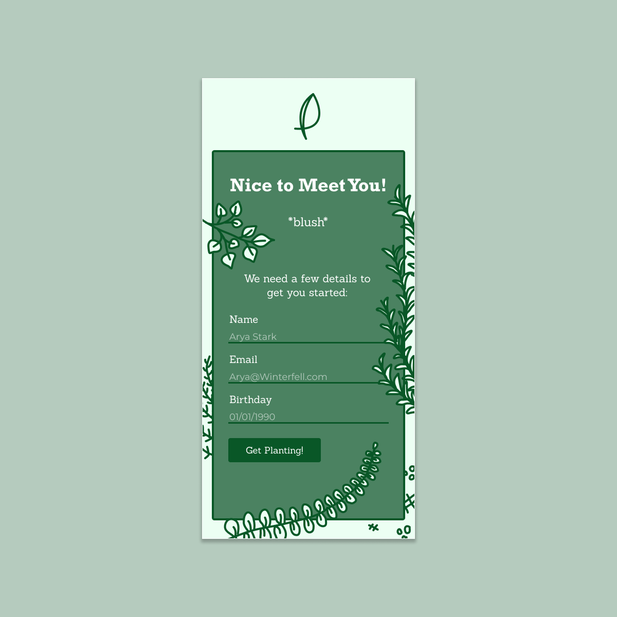 a one screen UI login page with illustrated plants and a logo.