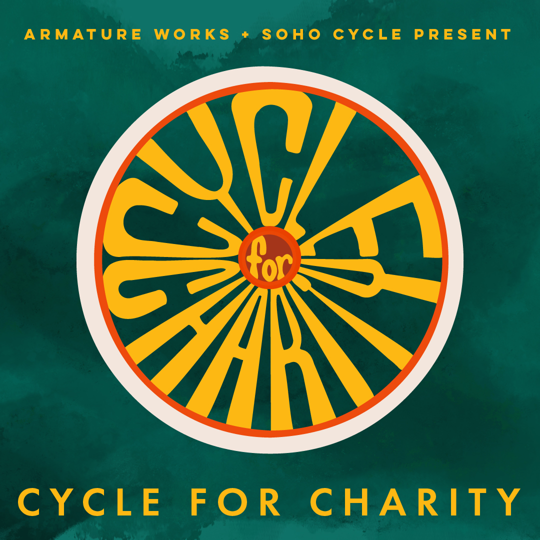 Armature Works Cycle for charity - the letters are the spokes inside of a bike wheel