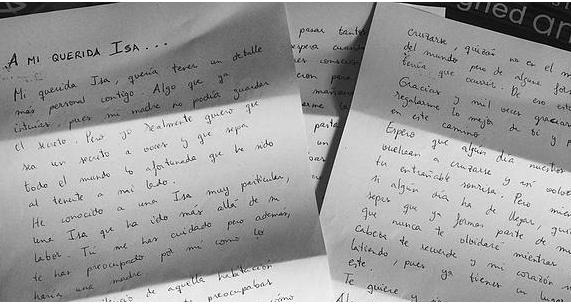 Carta de una paciente a su enfermera