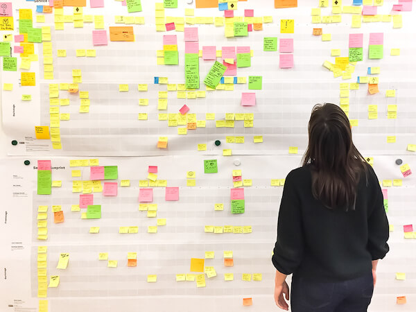 Photo of my colleague Birga Schlottmann standing in front a huge service blueprint with countless post-its.
