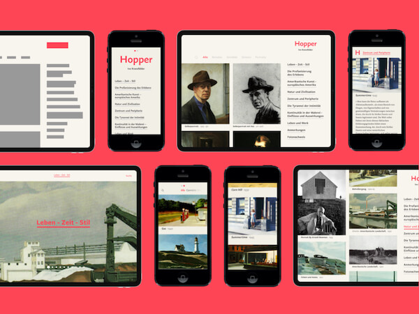 iPad and iPhones screens showing the translation of the physical book »Hopper« into its digital counterpart.