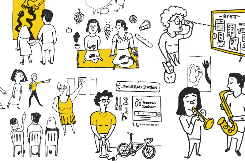 A series of illustrations of people interacting with each other such as making music, having a picnic, giving a presentation, repairing their bike etc.
