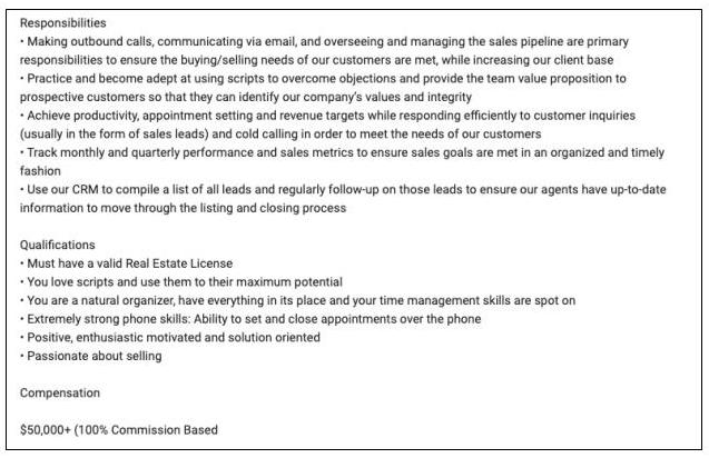 Sample job posting for a real estate agent at a traditional brokerage