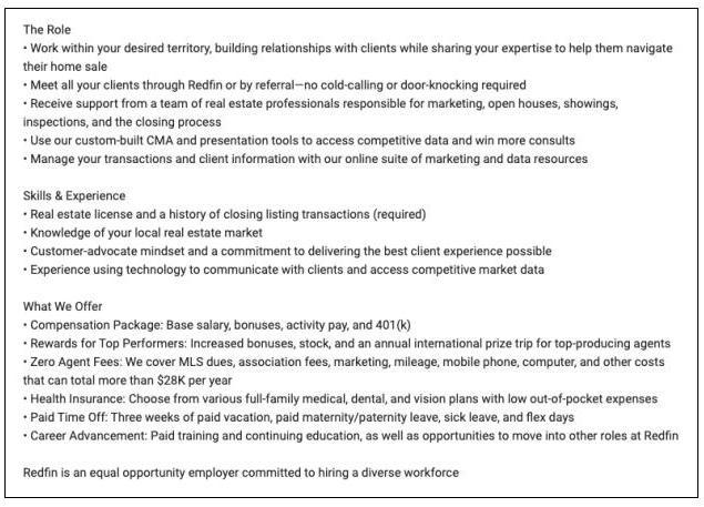 Sample job posting at a modern tech-enabled brokerage