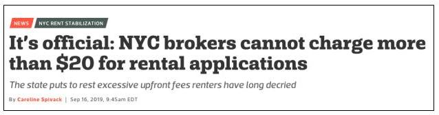 Curbed reporting on restriction on application fees for New York City brokers