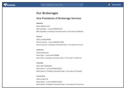 Estately list of brokerage licenses and entities