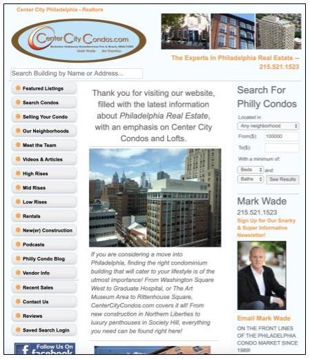 Center City Condos website showcasing agent neighborhood expertise
