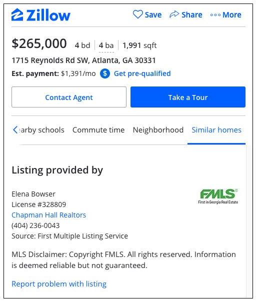 Zillow listing posted from an MLS partnership