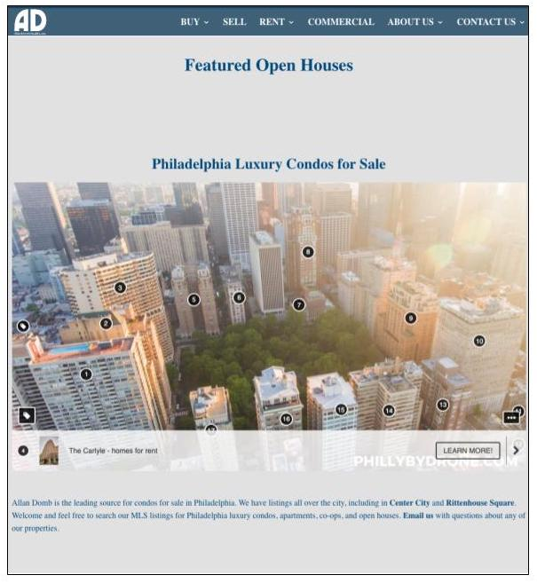 Allan Domb Real Estate website focused on Philadelphia neighborhoods
