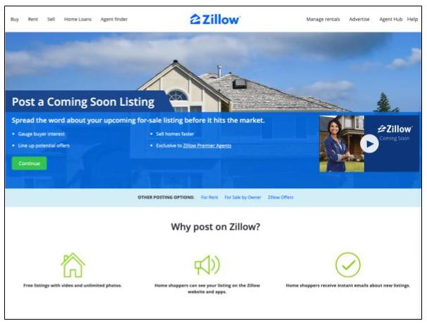 Zillow Coming Soon listing platform