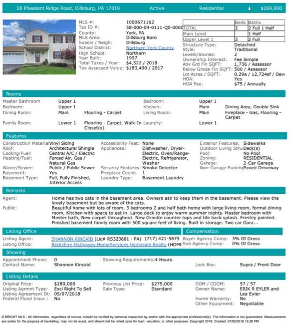 Sample listing sheet from Bright MLS