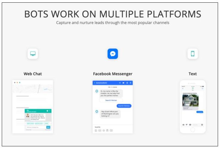 Automabots chat functionality across web chat, Facebook messenger, and text