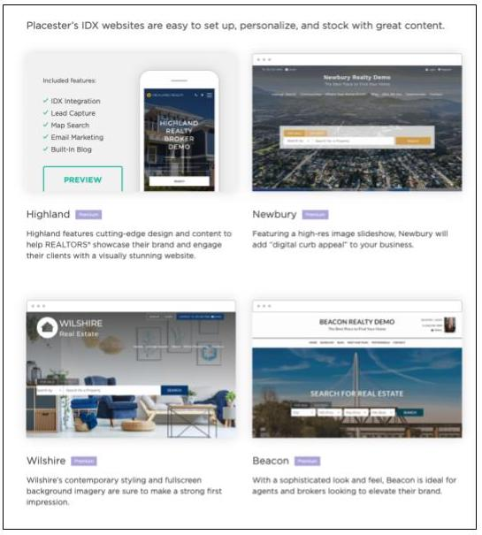 Placester template options for real estate websites