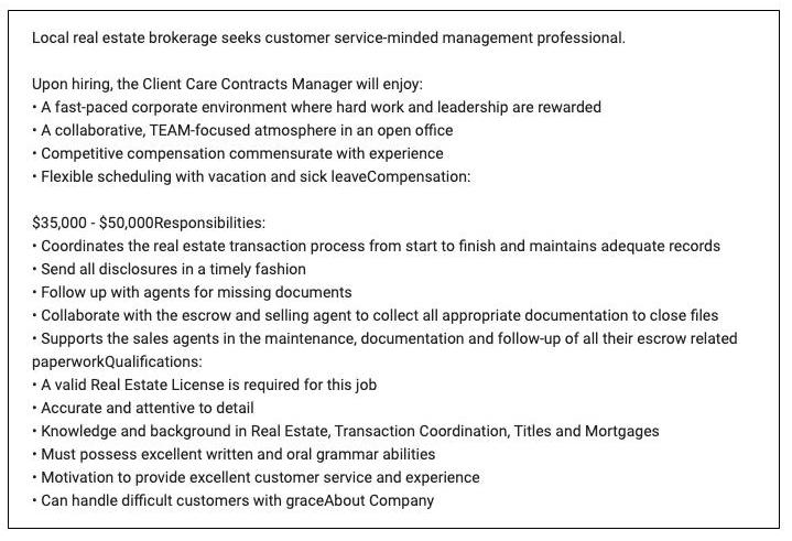 Sample job description for transaction coordinator