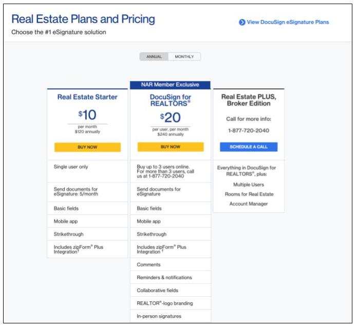 DocSign real estate plan features and pricing